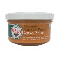 Antxo Pintxo –Sweet Anchovy cream  with chili Peppers